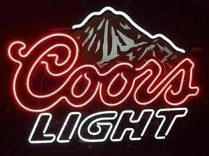 """New Coors Light Mountain Neon Light Sign 17""""x14"""" Beer Cave Real Glass Handmade"""