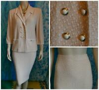 ST. JOHN COLLECTION Orange Jacket Skirt L 12 10 14 2pc Suit Cream Trim Pockets