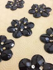 Black Rhinestone Applique,Motif,edging,trim,sequins,beads 1 X (7.5 cm Approx)