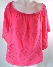 Lane Bryant Women's Pink Crochet Lace Off the Shoulder Top Bluse Plus Size 26 28