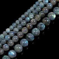 "Natural A++ Labradorite Gemstone Round Loose Beads 15"" 4mm 5mm 6mm 7mm 8mm"