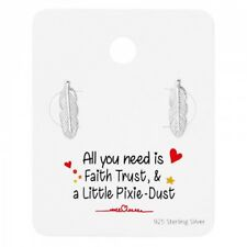 Girls Ladies Sterling Silver Feather Message Card Stud Earrings