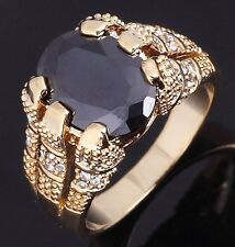 Mens Solitaire Size 11 New Fashion Black Sapphire 18K Gold Filled Wedding Rings