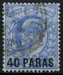 British Levant 1902-5 SG#8, 40a On 2.5d Ultramarine KEVII Used #D47607
