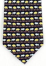 Buy Sell Mens Silk Necktie Stockbroker Stock Market Bull Bear Money Neck Tie New