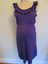 NEW LOOK MATERNITY PLUM FRILL SLEEVELESS TEA DRESS SIZE 12