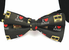 I Love School Mens Bow Tie Pre Tied Black Adjustable Neck Teacher Bus Driver New
