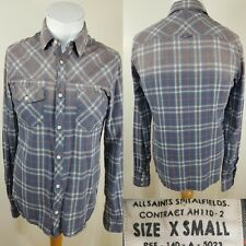All Saints Men's Blue Orange Checked Flannel Shirt Size XS Western Lumberjack