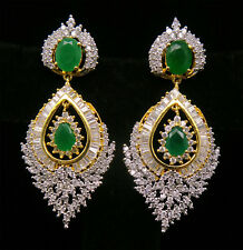Cubic Zirconia Designer Baguette Emerald Dangle Earrings 408 24E 48