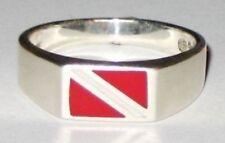 MED Scuba Diver,Sterling Silver Dive Flag Ring Size 6, 7