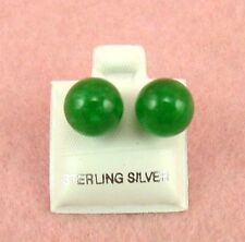 Sterling Silver - 9mm Green Jade Earrings (SE296)