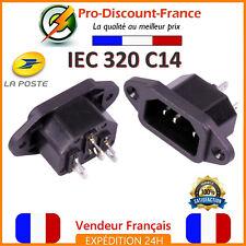 Prise alimentation IEC 320 C14 mâle 3 pôles 250V 10A Connecteur IEC320C14