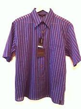 BNWT ARMAND BASI S/Sleeve Shirt In Purple/Blue Stripe Size M