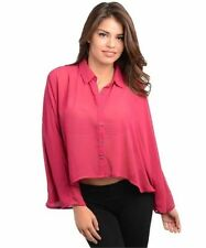 Evening, Occasion Button Down Shirt Machine Washable Solid Tops & Blouses for Women