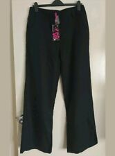 Women Ladies Black Palazzo Plain Flared Wide Leg Baggy Trousers UK Size 12