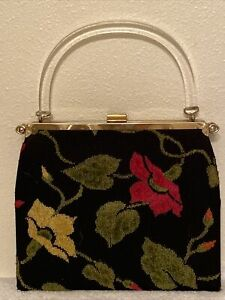 Embroidered Floral Vintage Needlepoint Purse Handbag with Clear Lucite Handle
