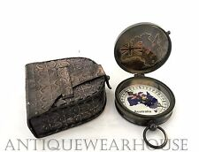Australia Penny Solid Brass Navigation Compass With Case Collectible Astrolabe