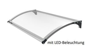 SCHARTEC Aluminium Vordach + LED Beleuchtung Haustürvordach Haustür Überdachung