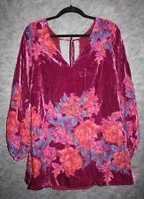 NWT Free People Velvet Floral Burnout V Neck Tie Back Misha Mini Dress Small S