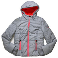 Superdry Sports Women's Puffer Jacket Zip Up Grey Marl/fluro Coral Size Small