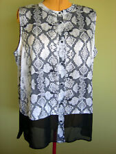 Ladies Womens Snakeskin Print Sleeveless Button Up Blouse Shirt Target Size 20