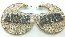 Gold and Silver Glitter Earrings Personalize Custom Name Plate LaserCut Stunning