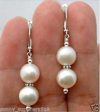 Beautiful White 10MM shell pearl Silver Drop Earrings