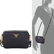 PRADA Saffiano Mini Zip Crossbody Camera Bag, Black (Nero)