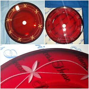 Princess House Crystal red contemporary Elegance luncheon plates 639Z