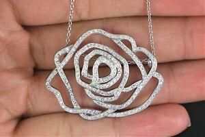 $4,650 18K White Gold 1.60ct Round Diamond Flower Pendant 16'' Chain Necklace