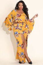 New Sexy and Beautiful 2 piece plus size pant set Mustard with floral print