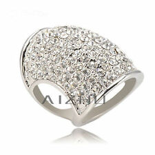 SIZE 8 STATEMENT RING PLATINUM PLATED CZ PAVE TUBE RING - HUGE - NEW