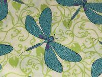 Fabric Dragonflies Hayden on Cream Cotton by the 1/4 yard