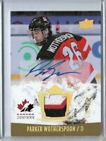 2015 Upper Deck Team Canada Juniors 3 Clr Patch auto Parker Wotherspoon /199