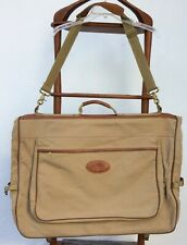 Eddie Bauer Edition FORD Khaki Canvas & Leather Garment Bag Luggage Travel USA