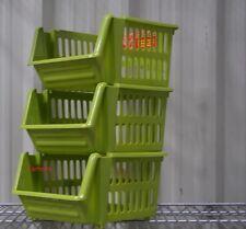 VEGETABLE FRUIT STORAGE KITCHEN STACKING STACKABLE BASKET RACK - 3 Tiers Green
