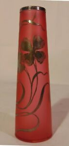 Art Nouveau Satin Cranberry Glass Bud Vase Silver Overlay Flowers