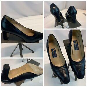"Joel Parker Pumps Heels Shoes Sz 8 B Navy Leather 3"" Heel Italy YGI I0S-222"