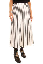 RRP€185 MAJE Knitted Midi Flare Skirt Size 1 S Striped Unlined Elasticated Waist