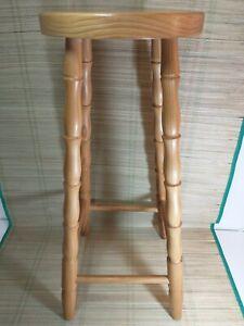 Vintage Solid Pine Breakfast Bar Stool - 70cm Tall - 28cm Seat Diameter