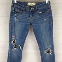 Hollister Cal Destroyed Skinny Womens 1s W25 L29 Blue Med Wash Low Rise Jeans