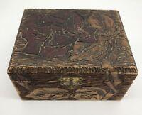 VTG Small Folk Art Wood Pyrography Artisan Red Rose Trinket Jewelry Box (RF803)