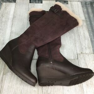 Ugg Mischa Waterproof Brown Leather Apron Wedge Suede Shaft Sheep Foot Bed  Sz 5