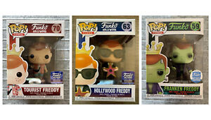 FUNKO POP HOLLYWOOD/TOURIST/FRANKEN FREDDY EXCLUSIVES SET OF 3 w/ PROTECTOR