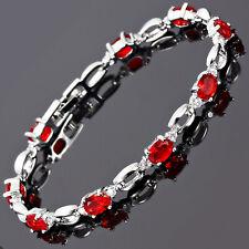 Charming! Xmas Ruby White Gold Gp Tennis Bracelet Chain Gift Jewelry