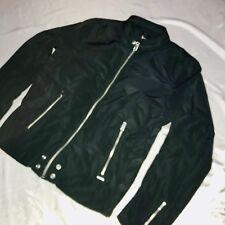 Rare Diesel Mens Moto Bomber Nylon Windbreaker Jacket Army Black Glanz Large