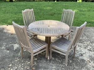 5 Piece Outdoor Dining Set Solid Teak Wood Patio, Garden, Poolside Set