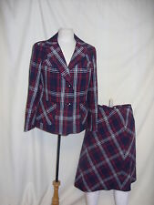 Ladies Suit - Dereta, Size 16, Navy Red & White Check,  - 7931