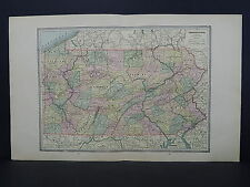 Vintage Map 1885 George Cram One Double Page Map S9#1 Pennsylvania + New Jersey