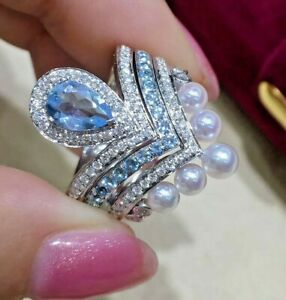 1.61ct Natural Round Diamond 14K White Gold Topaz Pearl Wedding Cocktail Ring